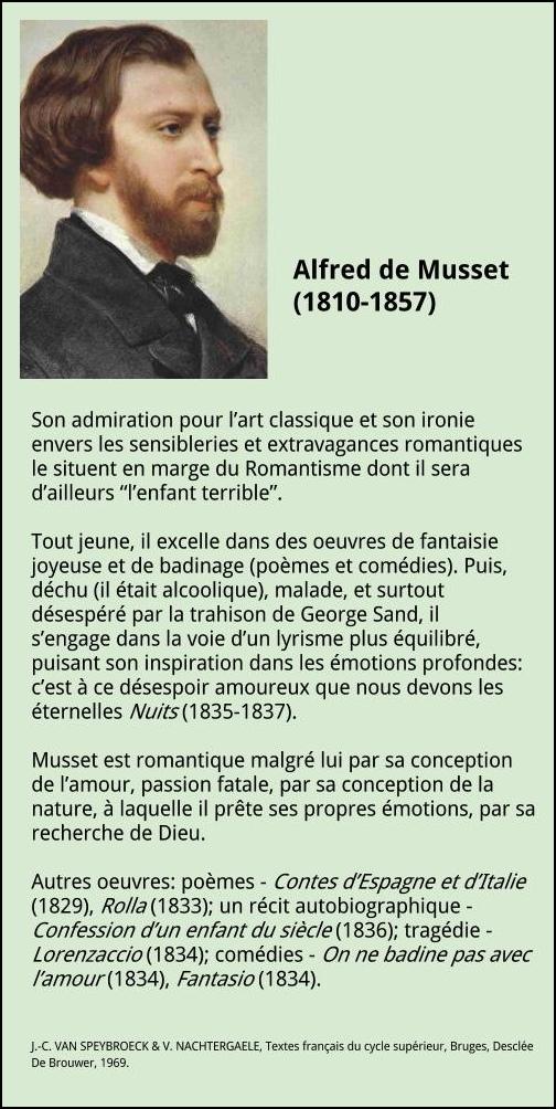 Musset biographie for Auteur romantique