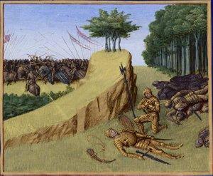 Bataille de Roncevaux en 778. Mort de Roland, dans les Grandes chroniques de France, enluminées par Jean Fouquet, Tours, v. 1455–1460, BNF