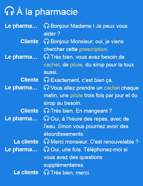 Pharmacie - Dialogue