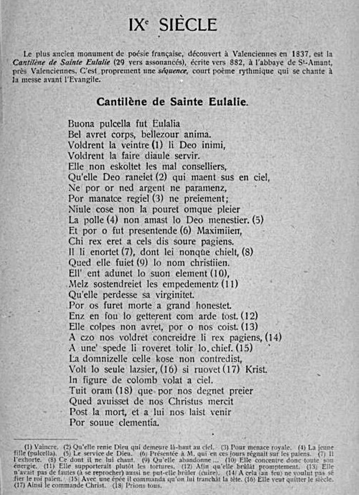 La littérature chrétienne au Moyen-Âge – Anglo-Saxonne – Allemagne – France (extraits et images) Cantilc3a8ne-de-sainte-eulalie