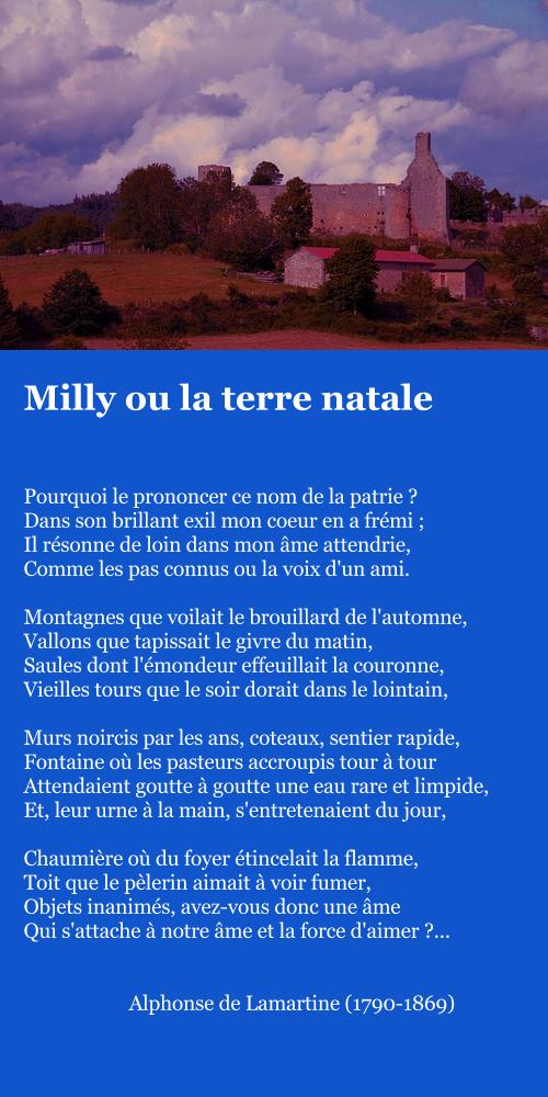 Lamartine, Milly ou la terre natale