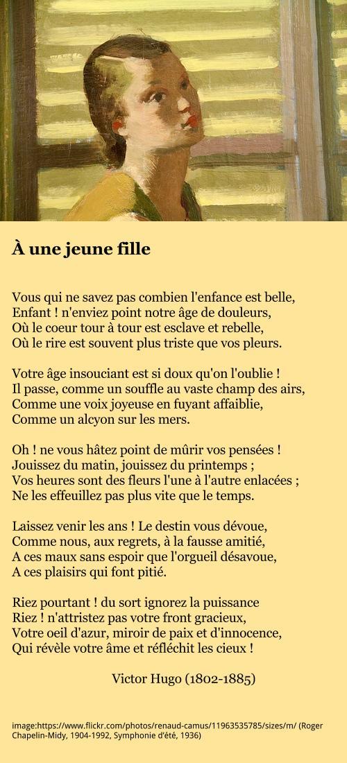 Victor Hugo à Une Jeune Fille à La Française