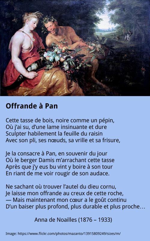 Anna de Noailles - Offrande à Pan