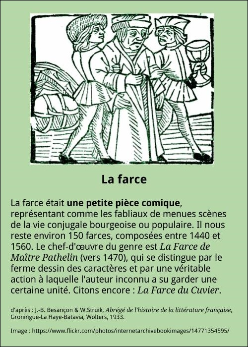 Le th tre m di val la fran aise for Is the word farcical